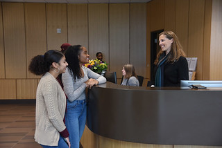 Wed, 11/15/2017 - 15:32 - A photograph of the welcoming front desk at GCC's new Student Success Center, courtesy of GCC