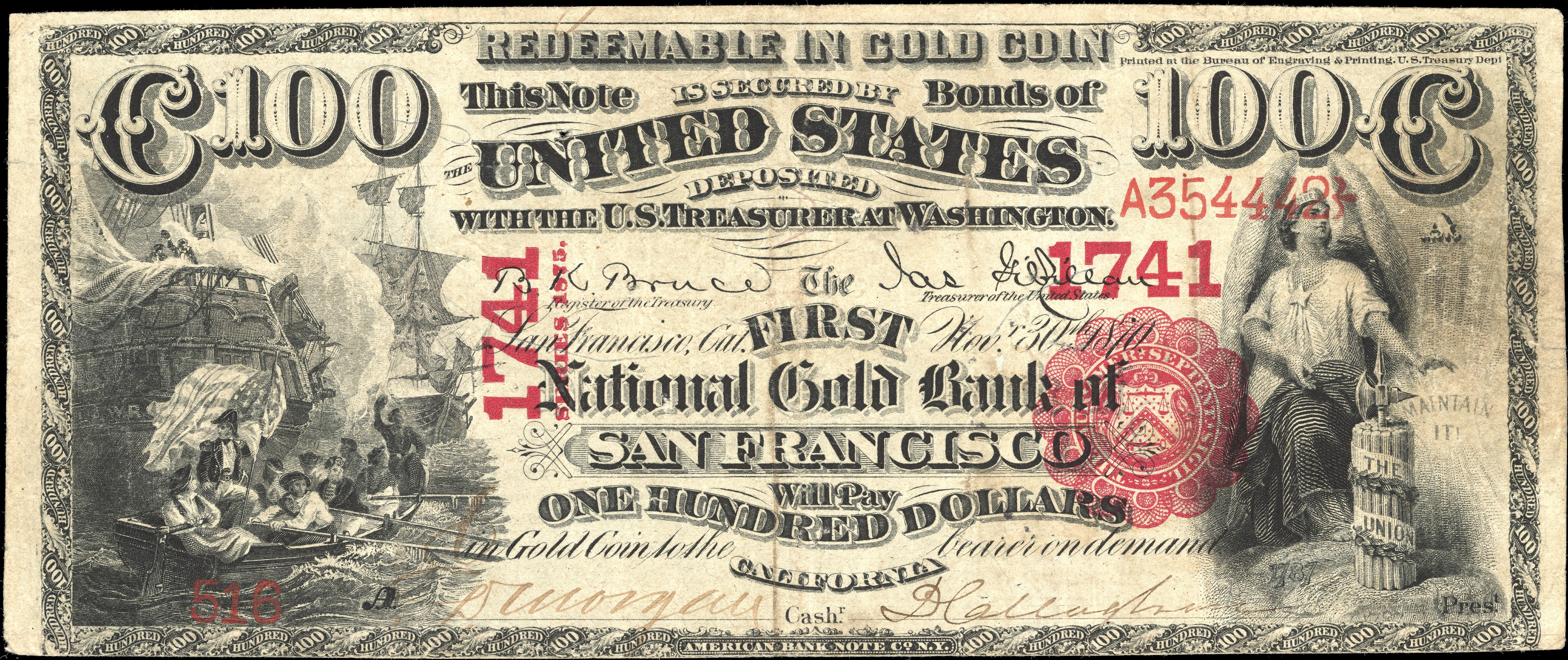 Banknote issued by the First National Gold Bank of San Francisco during the Gold Rush.