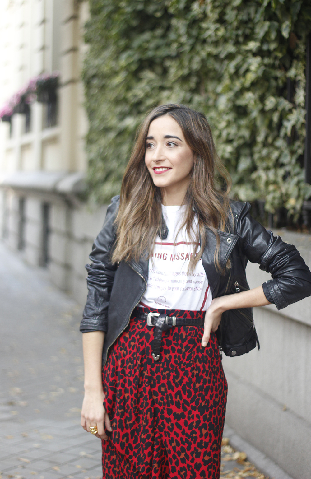 midi skirt red leopard print trend black biker jacket converse street style fall outfit 20186098