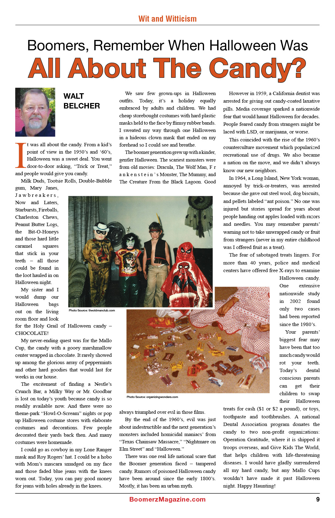 2018 October Boomerz Magazine Page 9 Walt Belcher Remember when Halloween was All About The Candy