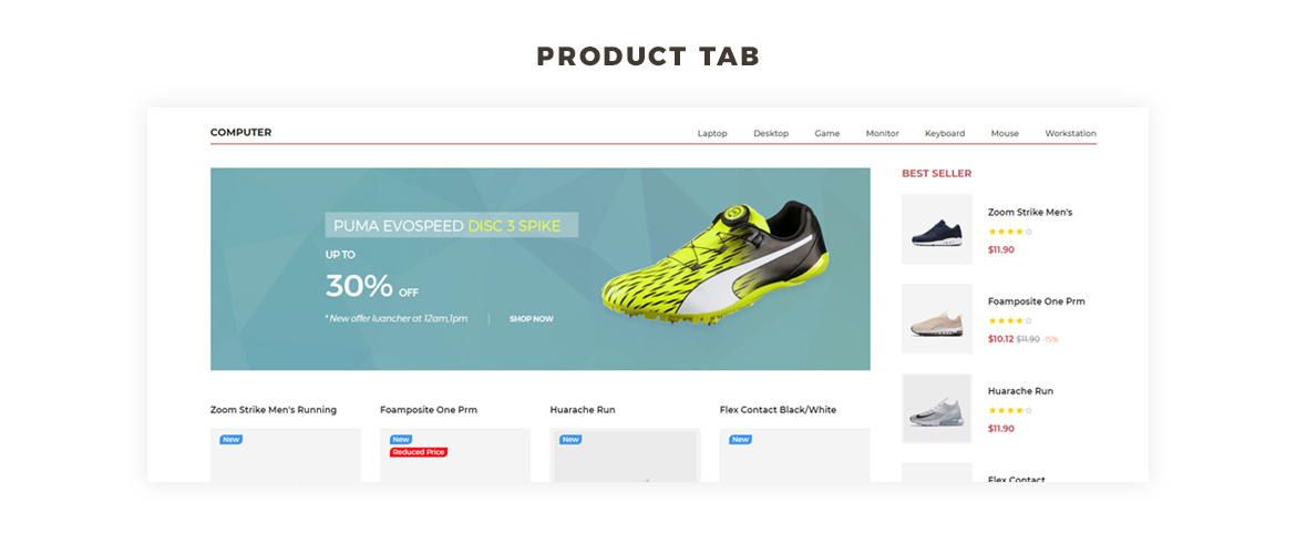 Product Tab feature