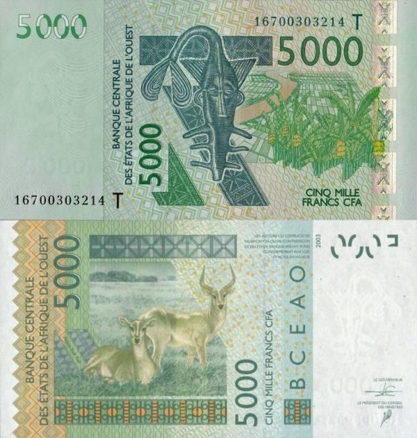 5000 Frankov Západná Afrika - Togo 2003-16, P817T