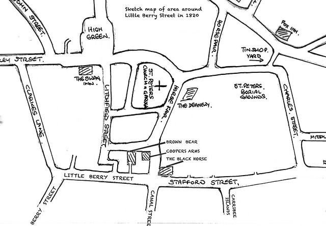 Map showing the three pubs in question.