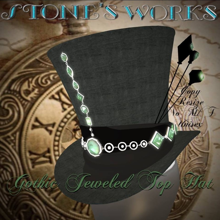 Gothic Emerald Jeweled Top Hat