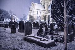 Church snow tombstones