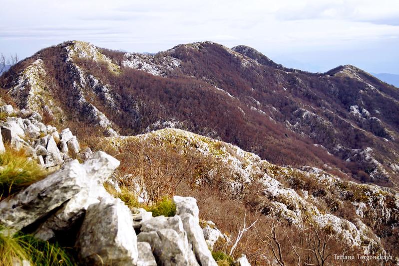 Вид на горный хребет с вершиной Сильевик