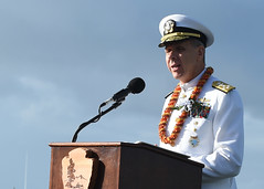 PEARL HARBOR (Dec. 7, 2018) Adm. Phil Davidson, commander of U.S. Indo-Pacific Command, speaks during the National Pearl Harbor Remembrance Day 77th Anniversary Commemoration. The ceremony was held in remembrance of the 2,390 American casualties most during the attack on Pearl Harbor and to reflect on the peace and prosperity forged by all who fought on. (U.S. Navy photo by Mass Communication Specialist 1st Class Randi Brown)