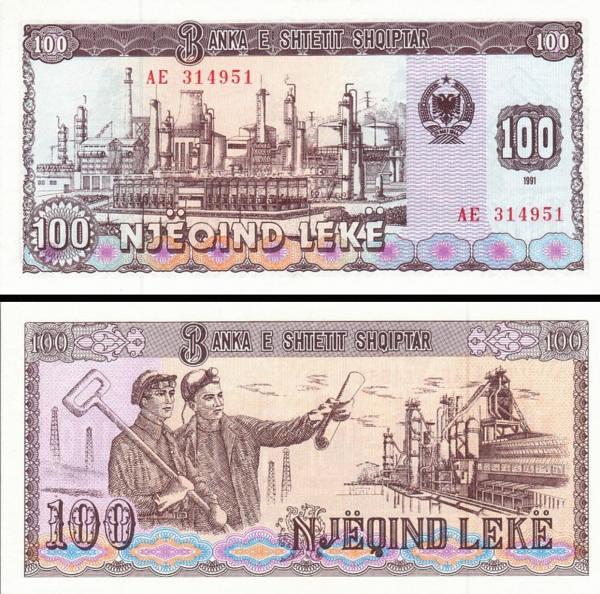 100 leke Albánsko 1991 P47