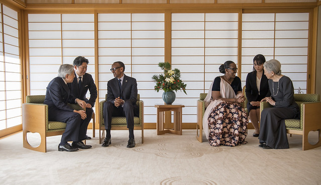 President Kagame and First Lady Jeannette Kagame pay a courtesy call to their Imperial Majesties Emperor Akihito and Empress Michiko of Japan | Tokyo, 8 January 2019