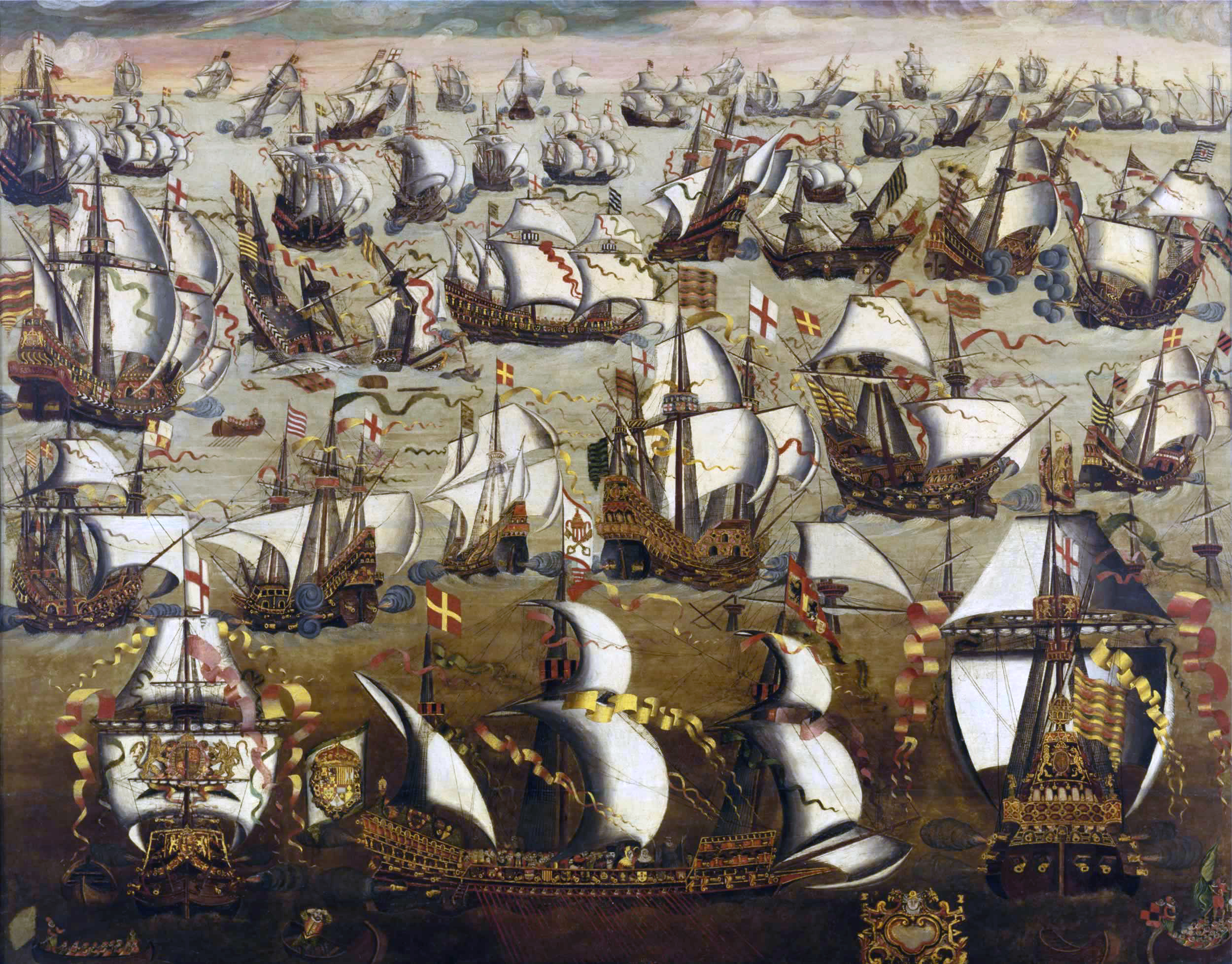 The Spanish Armada fighting the English navy at the Battle of Gravelines in 1588.