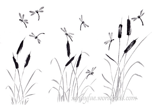 Chinese brush painting bulrushes & dragonflies, brush pen