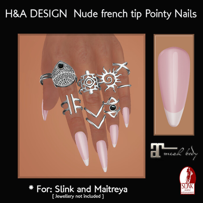 [H&A Designs] - Nude french tip Bento Pointy Nails - TeleportHub.com Live!