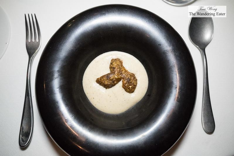 Crispy artichokes, pepper, walnuts, with bagna cauda sauce