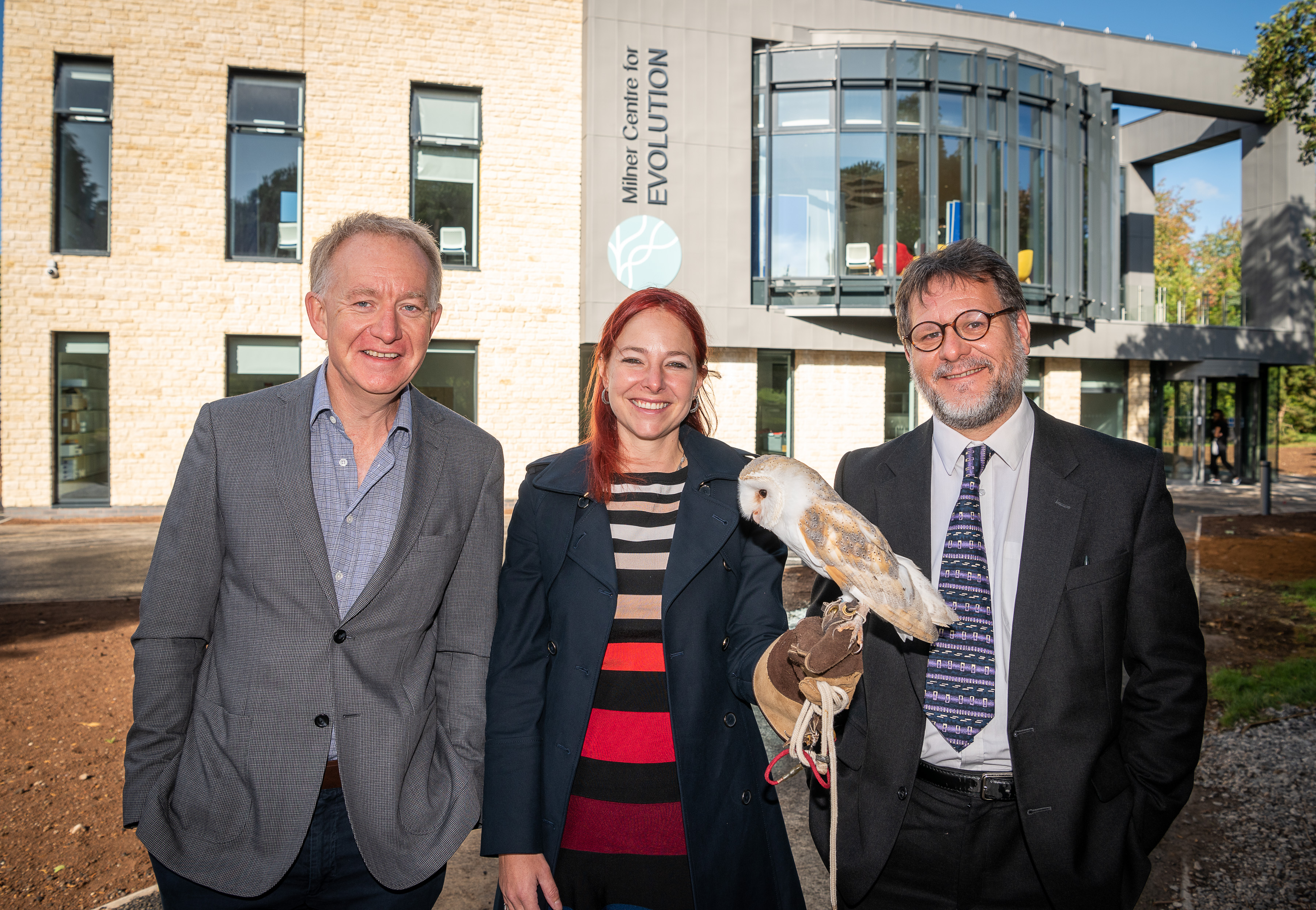 Dr Jonathan Milner with Professors Alice Roberts and Matthew Wills and Loki the owl