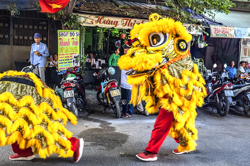 Lion dancers in District 6--Saigon