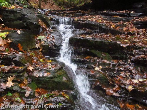 One of the small waterfalls in the upper part of Barnes Gully, Onanda Park in the Finger Lakes of New York