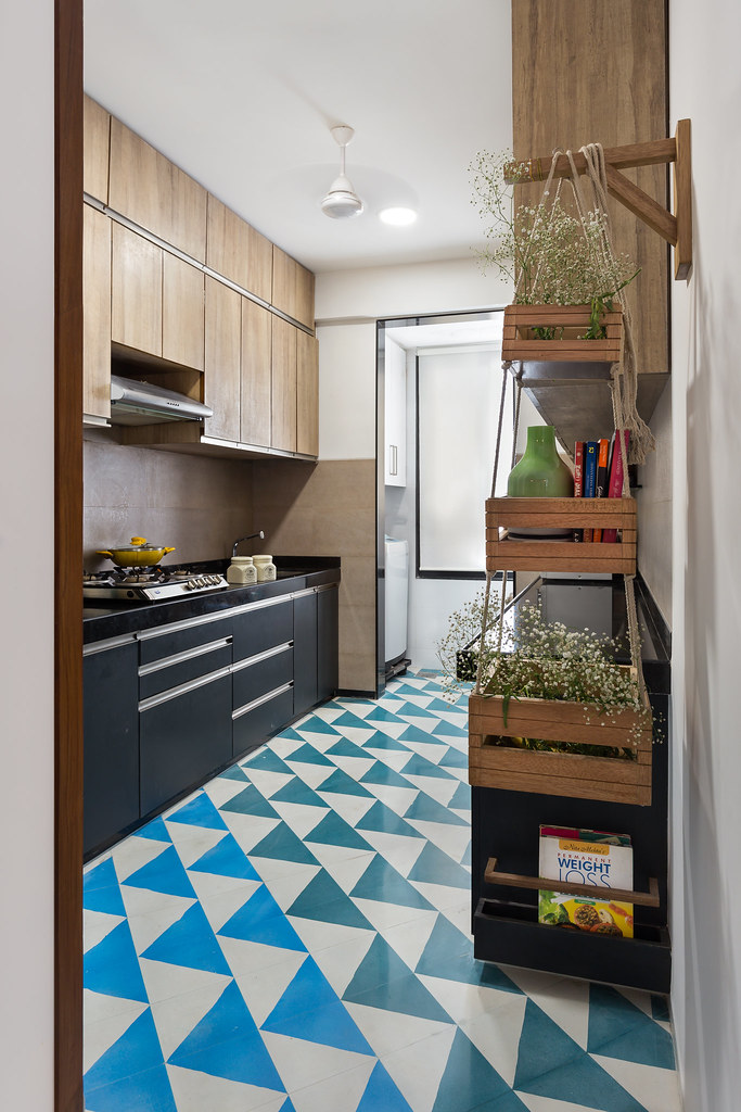 colorful vibrant cement tile flooring in kitchen