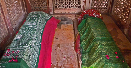 Tombs in the mosque in Fatehpur Sikri, a town outside of Agra in India