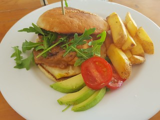 Tofu Burger (with Satay Sauce and Pineapple) at Two Tables Cafe