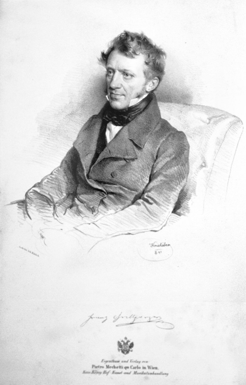 Lithographed portrait of Franz Grillparzer by Josef Kriehuber, 1841