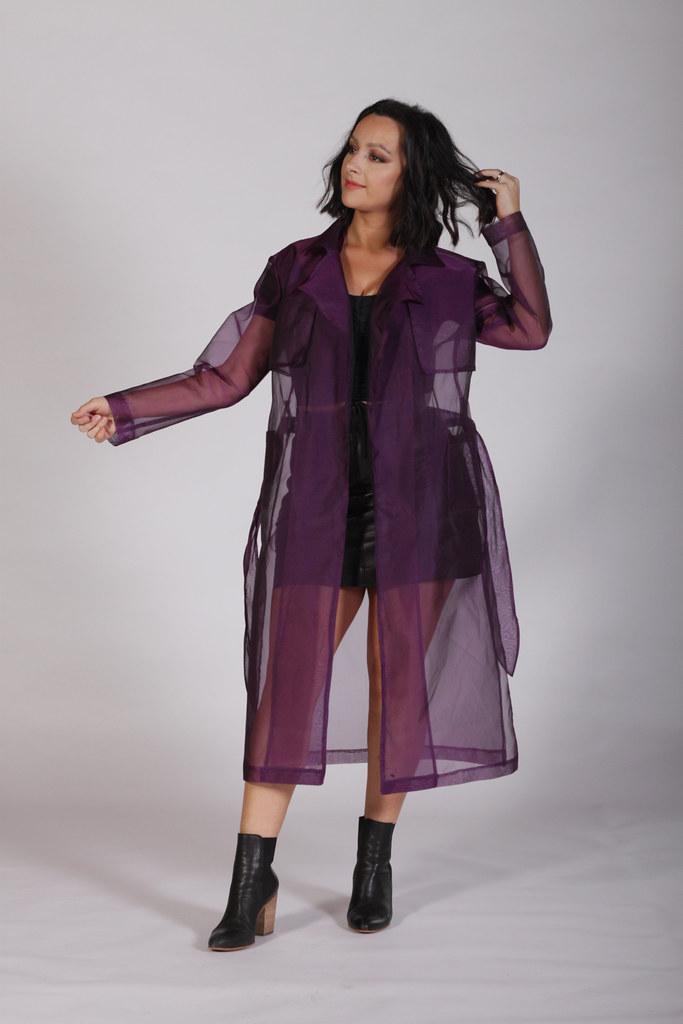 Purple Organza Trench Coat