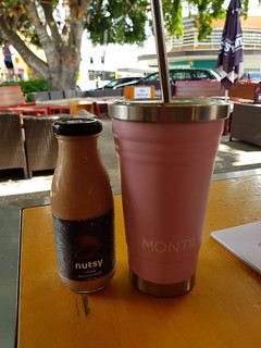 Chocolate Milk from Nutsy and Iced Tea in smoothie cup at Brisbane Vegan Markets