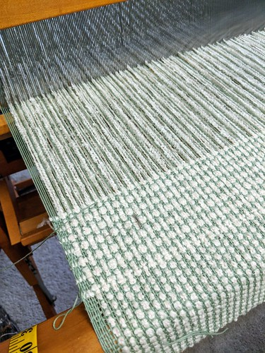 Weaving basket and plain weave baby blanket on Mighty Wolf loom by irieknit in cotton