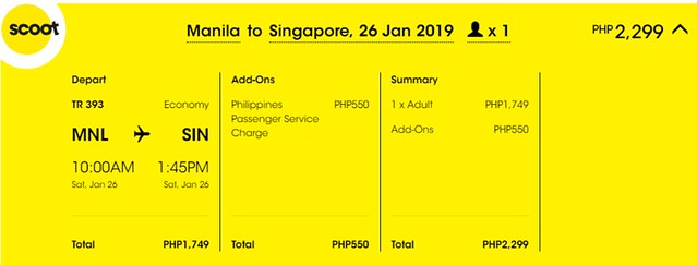 Scoot Christmas Holideal Manila to Singapore
