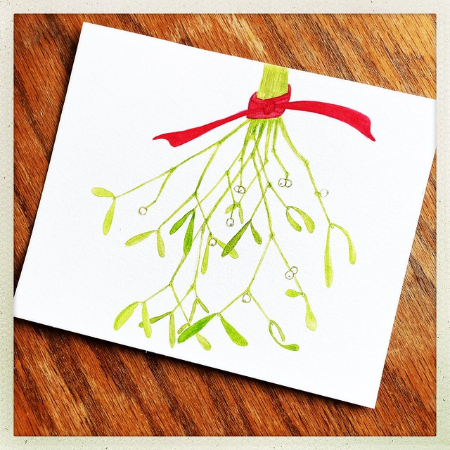 Mistletoe Watercolor