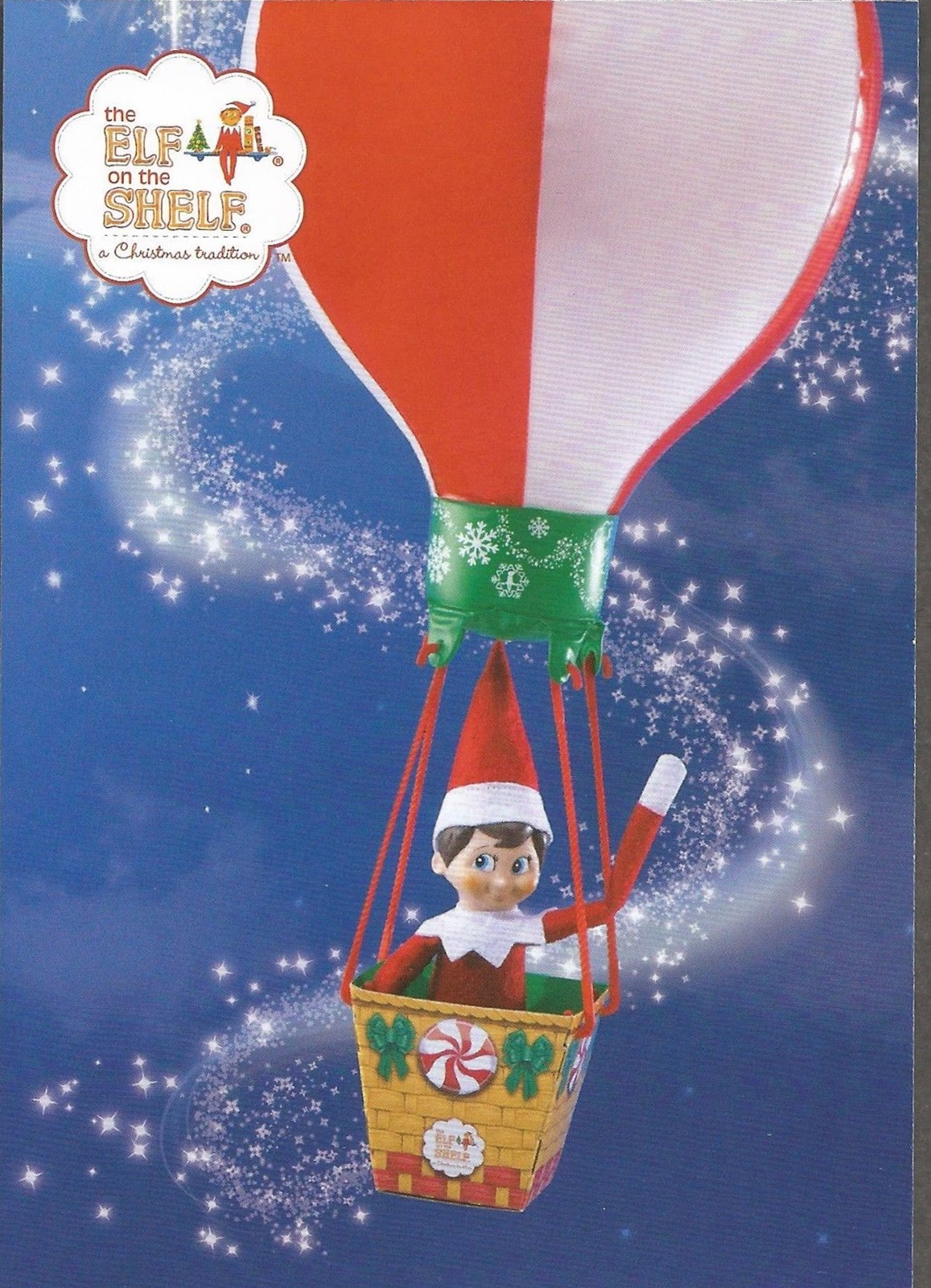 One of six The Elf on the Shelf postcards included in a pack sold by An Post with it's 2018 Elf on the Shelf Christmas stamp.