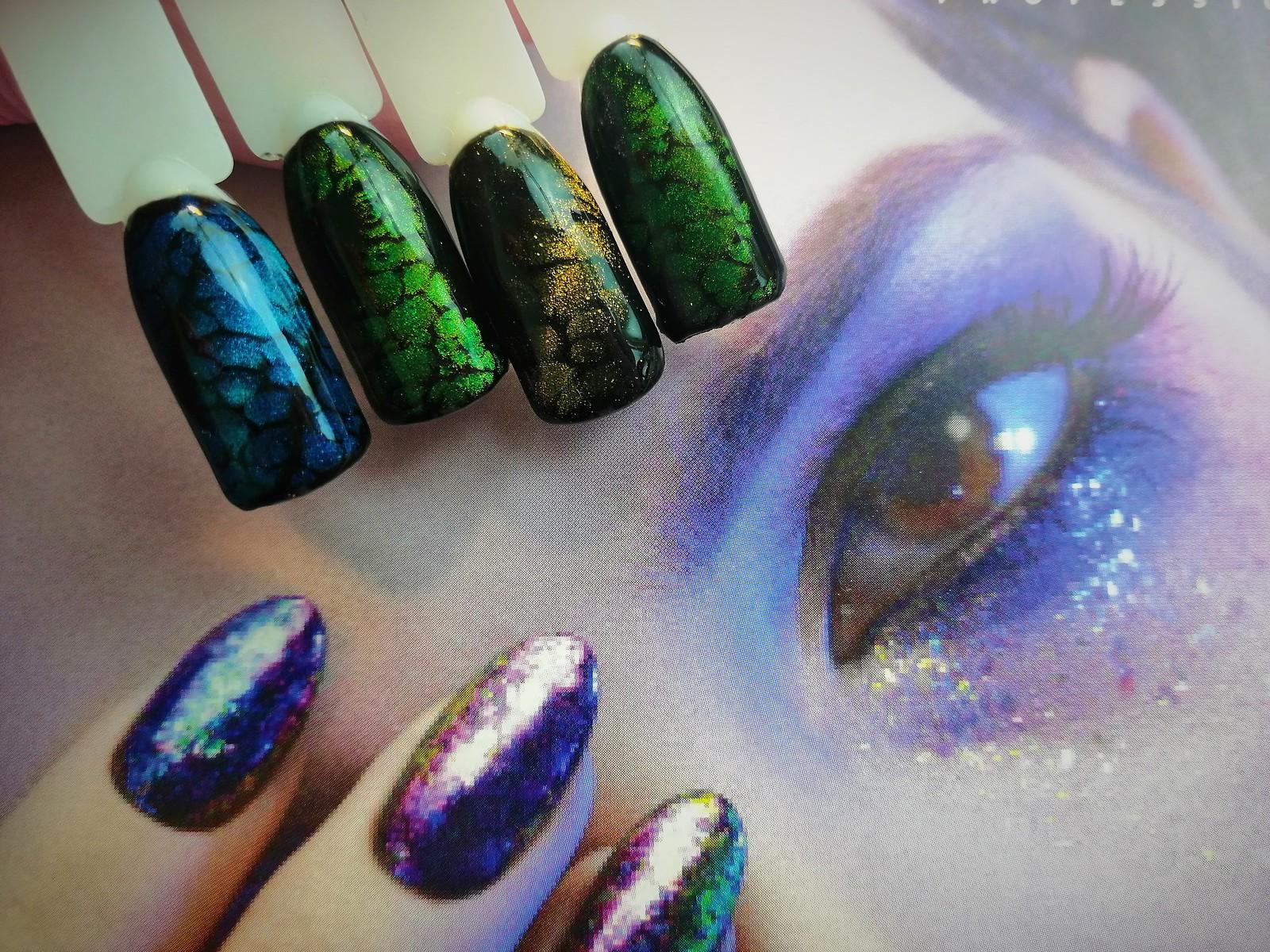 Kocie oko na paznokciach. efekt skórki węża