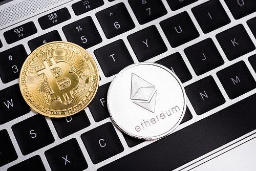 Virtual Bitcoin and Ethereum coins currency finance money
