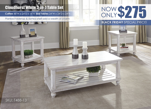Cloudhurst White 3 in 1 Table Set Special_T488-13