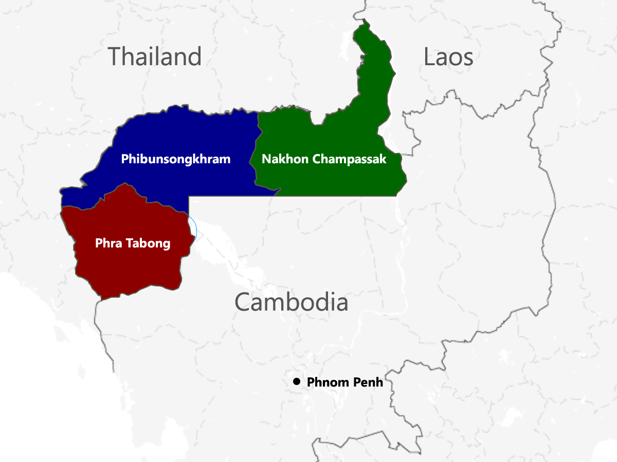 The provinces ceded from Cambodia by France to Thailand were regrouped into new Thai provinces, Phra Tabong, Phibunsongram, and Nakhon Champassak.