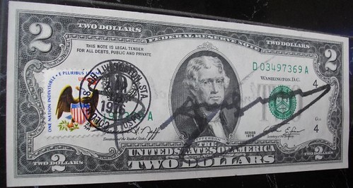 Two Dollar Bill With Andy Warhol Signature
