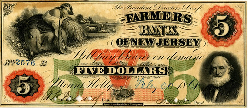 Lot 147. Farmers Bank of New Jersey, 1861 Issued Obsolete Banknote. Est $3500-$4500