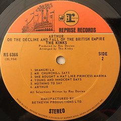 THE KINKS:ARTHUR OR THE DECLINE AND FALL OF THE BRITISH EMPIRE(LABEL SIDE-B)