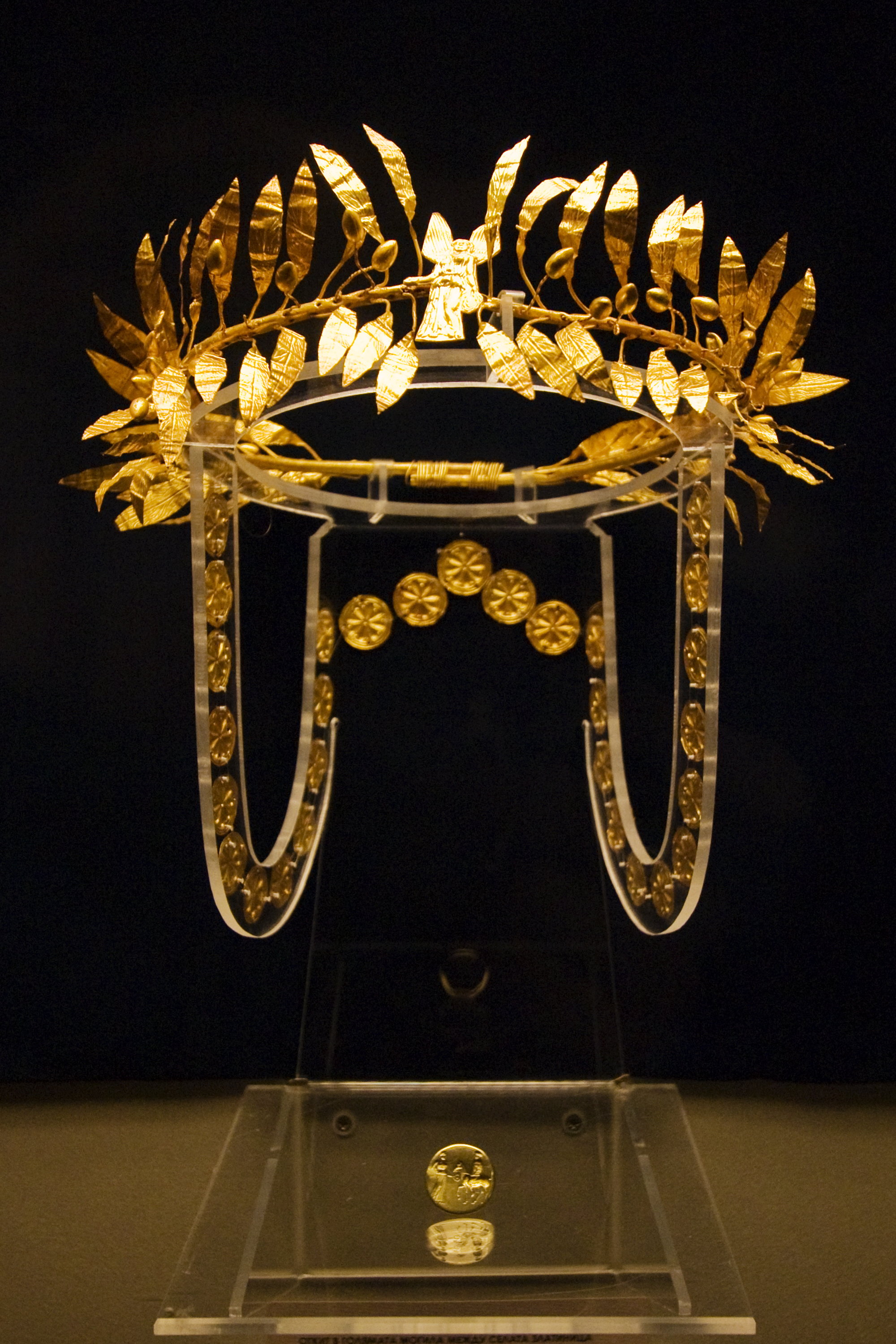 A golden wreath and ring from the burial of an Odrysian Aristocrat at the Golyamata Mogila in the Yambol region of Bulgaria. Mid 4th century BC.