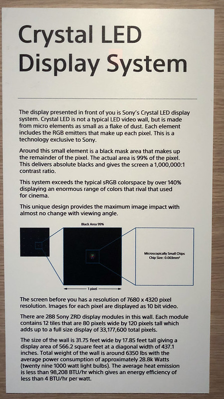 "Sony ""Crystal Laser"" screen info"