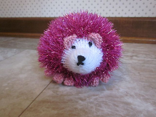 Pinkie the Hedgehog also knit by Marie. The pattern is Tinsel Hedgehog by King Cole