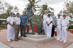HAGATNA, Guam (Dec. 15, 2018) Leadership from Joint Region Marianas and U.S. Naval Base Guam, the government of Guam and the U.S. Navy Memorial gather for a photo after an unveiling ceremony for the Lone Sailor statue. The statue is the 16th in the nation and is the western-most in the United States. (U.S. Navy photo by JoAnna Delfin)
