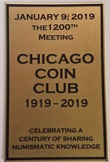 Chicago Coin Club front plaque 1200meeeting