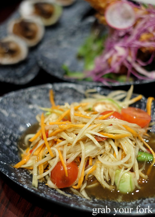 Green papaya salad with fermented crab at Talay's Thai all you can eat seafood buffet at Duo Central Park in Chippendale