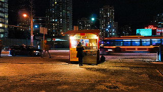 Nighttime hot dog stand