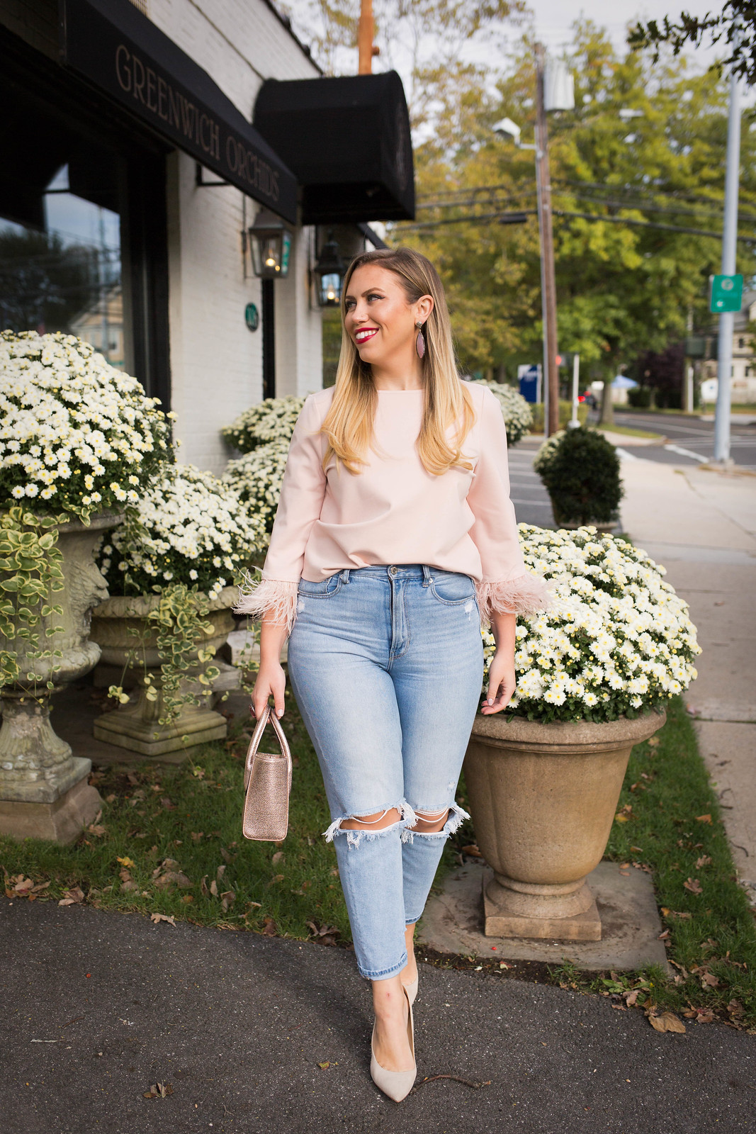 Pink Feather Top American Eagle Mom Jeans Sam Edelman Suede Pumps Valentine's Day Outfit