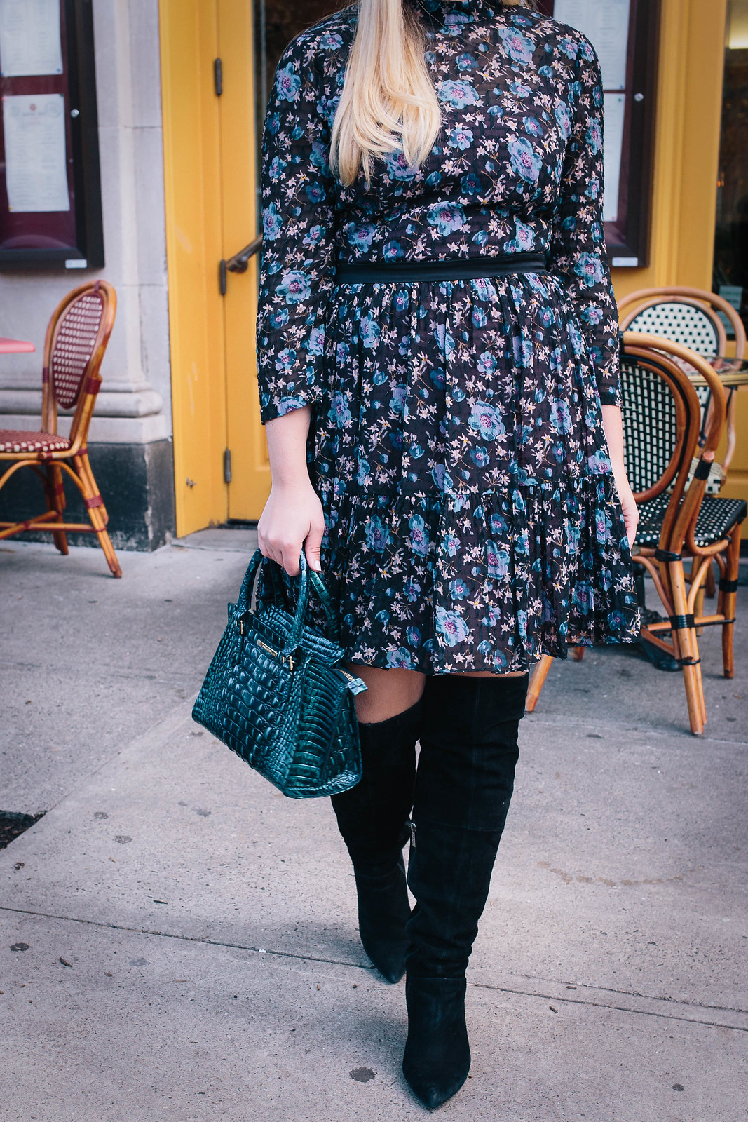 My Favorite Non-Traditional Holiday Outfit | Rebecca Taylor Solstice Silk Blend Dress Brahmin Mini Priscilla Melbourne Bag