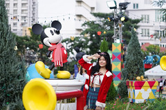 Bangkok, Thailand - Dec 5, 2018 : A photo of Mickey Mouse, famous character mascot from Walt Disney, decorated at King Power Rangnam for Christmas and New Year 2019 in concept of Endless Celebrations.