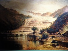 Rotorua. Painting of the crystalline pink lake terraces which once stood  near Lake Tarawera. It was destroyed by a mighty volcanic eruption in 1886. The village of Te Wairo was destroyed and buried