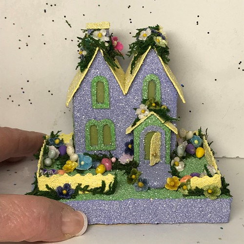 Mini Periwinkle and Yellow Spring Putz House