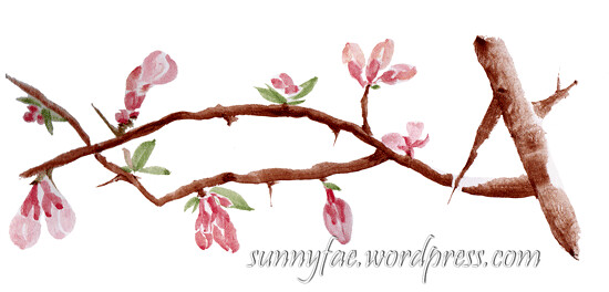 quince buds watercolour sketch